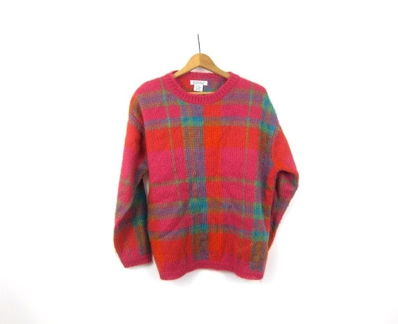 Vintage Fuzzy plaid Sweater Pullover Preppy Sweater Pink & Orange Mohair Blend Womens Size Medium
