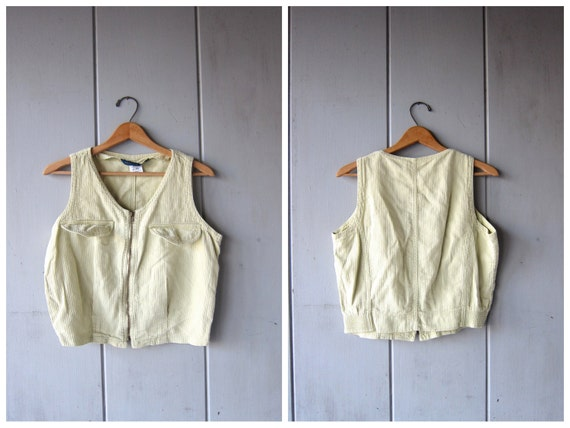 Cropped Ribbed Shirt 90s ZIP UP Tencel Cotton Tank Top Collared Vest Top Crop Tee Hip Hop Grunge Surfer Hipster Vintage Womens Medium Large