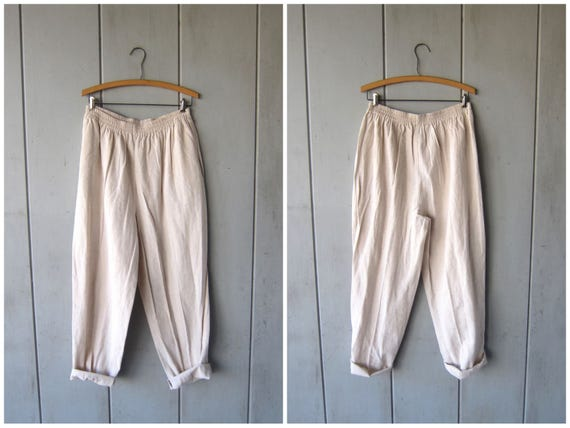 Minimal LINEN & RAYON Trousers Natural Linen Pants Loose Fit Baggy Pants Elastic Waist Trousers with Pockets Des Womens XL