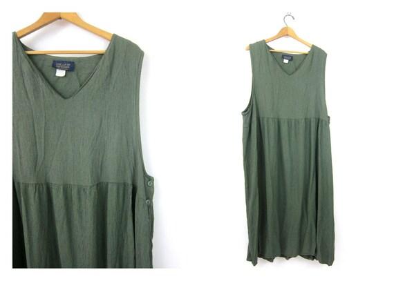 Loose Fit dress 1990s Baggy Sack jumper sundress Vintage Preppy Minimal Black & Green Check Dress Women's Size 1X