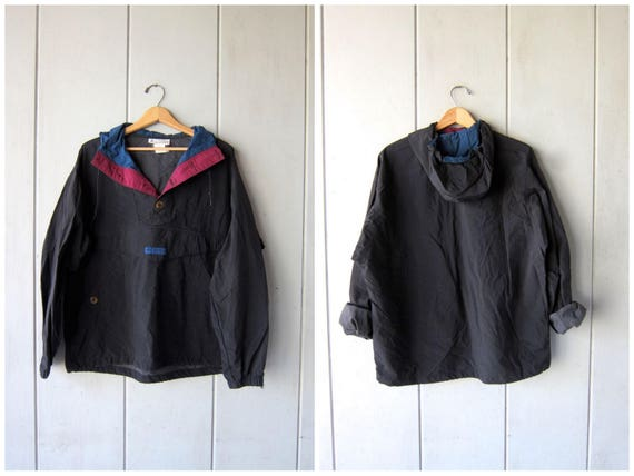 Vintage 90s COLUMBIA Pullover Windbreaker Jacket Sporty Slouchy Athletic Black Pullover Jacket Button Up Drawstring & Hood Mens Medium