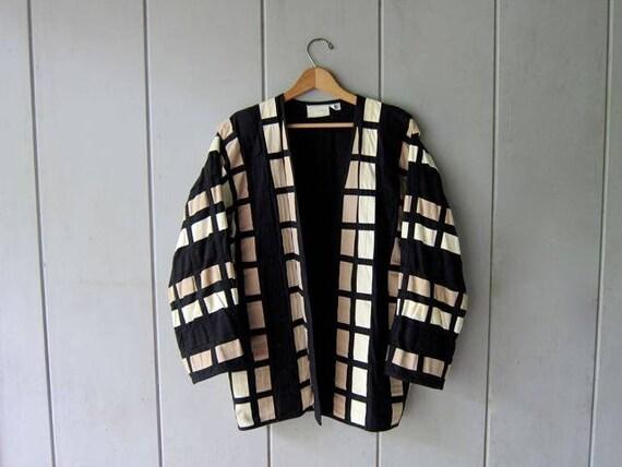 Minimal Woven Jacket Black White Beige Oversized Cotton Jacket Vintage Kimono Style Jacket Patchwork Color Block Open Blazer Chic Modern XL