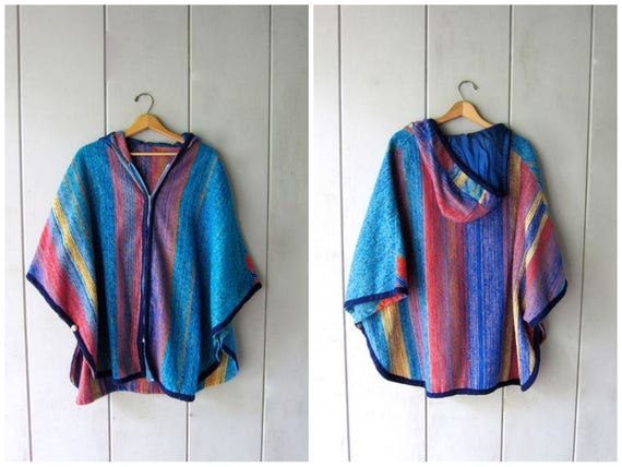 vintage 70s colorful knit poncho zip up boucle knit shawl ethnic poncho hood colorful Spring jacket blue yellow pink hippie sweater coat OS