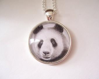 Panda bear pendant necklace, wearable wildlife art,  original animal drawing, miniature wildlife silver necklace, panda lover gift