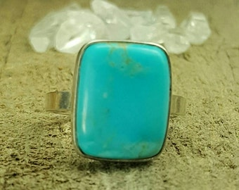 Kingman turquoise, sterling silver ring, ladies ring, dinner ring, cocktail ring , ready to ship