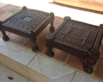 Two early 1800 Afghanistan Nuristan low tables