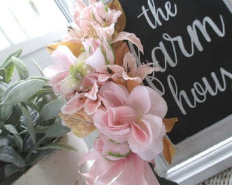 Vintage Millinery Corsage * Pink Roses * Shabby Chic * Cottage * Butterfly