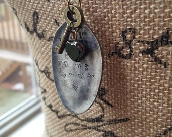 Hammered Stamped Spoon-Key to my heart - Mixed Media