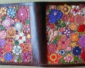 Custom Order for pattyz Leather Single Fold Wallet with  Flower Garden Design Made in GA USA OOAK