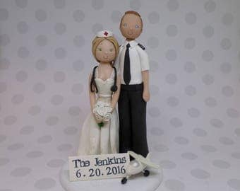 pilot flight attendant wedding cake toppers pilot cake topper etsy 18522