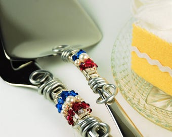 Red white blue wedding cake server knife set patriotic Fourth of July wedding reception decor cake table party nautical bride and groom