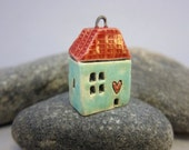 Love Lives Here...Ceramic Cottage Pendant...Turquoise Green