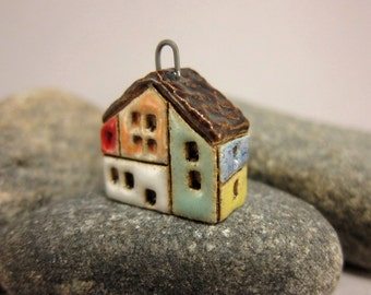 RESERVED for Iris RESERVED...SECOND...Hundertwasserhaus...House Pendant in Stoneware