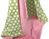 SALE Hot Pink Minky Dot with Lime Green and White Polka Dots for baby, Lime and Pink Baby Blanket, available in three sizesCan Be Personaliz