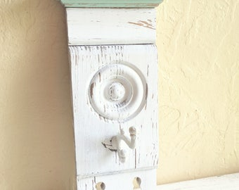 Shabby Chic Farmhouse Style Architectural Salvage Painted Wall Hooks Wooden Hanging Coat Rack