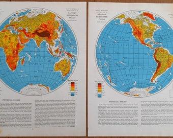 Western hemisphere etsy world maps eastern and western hemisphere maps set of 2 vintage 1930s old atlas gumiabroncs Gallery