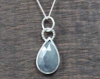 Petite Sapphire Teardrop Necklace, Gray sapphire teardrop pendant, sapphire necklace