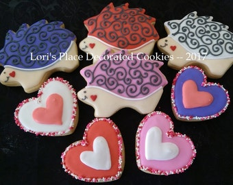 Valentine's Day Cookies - Hedgehog Valentine - 8 Cookies