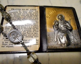 OLD Glass Chaplet with Pocket Shrine  SAINT ANNE Patron Saint for Grandparents great beads!