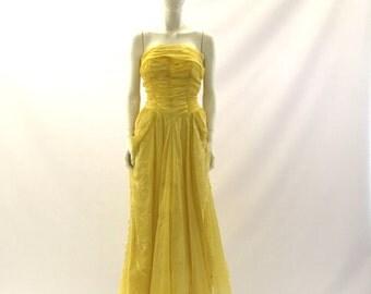 Vintage Prom Dress 1950s Prom Dress Strapless Dress Yellow Dress Ruffled Dress Homecoming Dress Blue Prom Dress Formal Gown