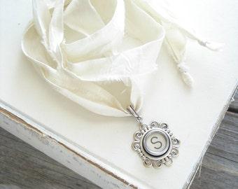 Typewriter Key Necklace. Letter S Necklace. Vintage Typewriter Key Jewelry. Long Boho Sari Silk Ribbon Necklace. Upcycled Eco Friendly Gift.