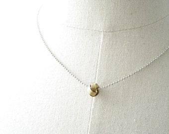 Love Knot Necklace. Vintage Brass Love Knot Jewelry. Small Eternity Knot, Double Knot, Nautical Knot Charm. Layering Necklace. Simple Gift.