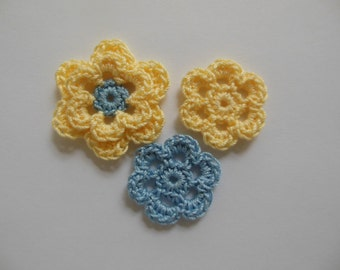Crocheted Flower Combo - Yellow and Blue - Cotton Flowers - Crocheted Appliques - Crocheted Embellishments