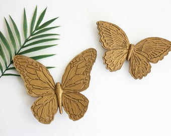 Vintage Gold Butterflies Wall Hangings / Mid Century Gold Butterfly Wall Decor / Homco Butterfly Decor / Boho Butterfly Wall Decor