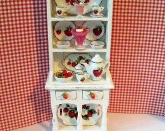 Dollhouse Filled Hutch,Dollshouse  Hutch, Miniature hutch, strawberry hutch, Strawberry themed.  . Twelfh scale dollhouse miniature