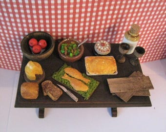 Tudor table, filled table, Medieval food, Dollhouse table, Tudor food, distressed table, A dollhouse item, twelfth scale