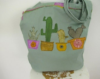 Cactus and Succulent Bag, Cotton Canvas Bag, Appliqued Tote, Over the Shoulder Bag,  Southwest Style Bag, Travel Bag, Beach Bag, Tote Bag