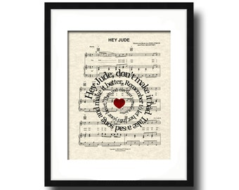 Hey Jude Song Lyric Sheet Music Art Print, The Beatles, Hey Jude Music Art, Custom Gift, Spiral Word Art, Nursery Art, Name and date