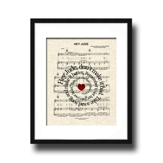 Hey Jude Song Lyric Sheet Music Art Print, The Beatles, Hey Jude Music Art, Custom Gift, Spiral Word Art, Nursery Art, Name and date