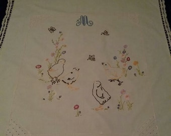 Vintage Hand Embroidered Baby Blanket Monogrammed M Chicks Butterflies Flowers