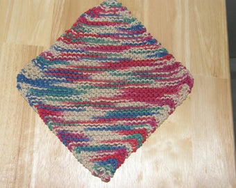 Cotton Knitted Dish Cloth - Variegated blue, green, red, beige