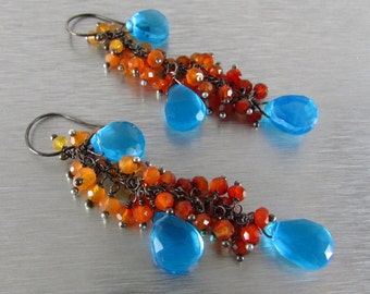 Shaded Orange Carnelian With Turquoise Blue Quartz Cluster Dangle Earrings