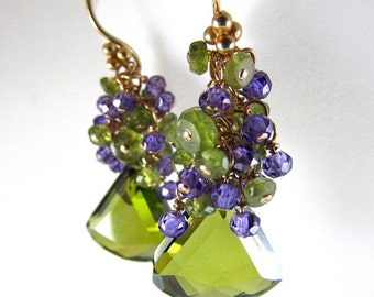 25% Off Olive Green Crystal, Vesuvianite and Purple Zirconia Gold Filled Cluster Earrings