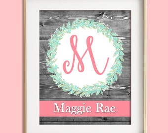 Pink mint gray nursery decor baby girl nursery wall art nursery prints personalized baby custom name print nursery art personalized gift