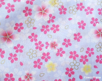 Japanese Kimono Fabric - Sakura Cherry Blossoms on Light Purple - Half Yard (na161212)