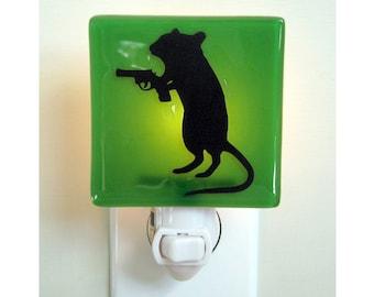Funny Gerbil Night Light - Fused Glass - Gift for Friend - Dark Humor