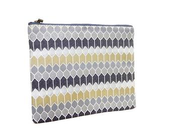 Fabric Zipper Pouch, Zipper Pouch, Pouch, Chevron Print Pouch, Cosmetic Bag, Zipper Case, Purse, Grey Bag, Grey Pouch, Pencil Case, Clutch