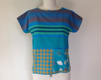 Mia cotton top with pockets- turquoise stripe- S