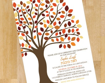 Fall Tree of Life Bat Mitzvah Invitations, RSVP, Party Card Invitation Set, Red, Orange, Yellow, Brown