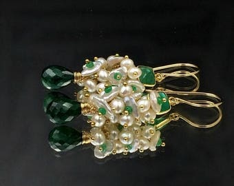 SPRING SALE Emerald Earrings, Green Earrings, Keishi Pearl Cluster, Gold Fill, Wire Wrap Green Gemstone, May Birthstone, Green Onyx