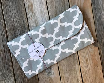 Diaper Clutch with Changing Pad - Grey - Gray - Orange - Baby Shower Gift - Gender Neutral - New Mom Gift - Boy or Girl