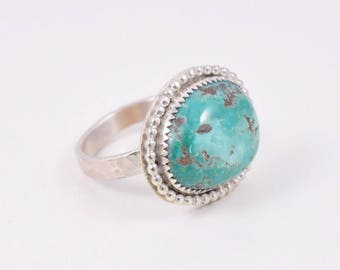 Turquoise Ring. Gorgeous Blue Green Kingman Turquoise and Sterling Silver Ring Size 9.25 US