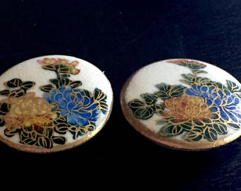 Lot of 2 Vintage Satsuma Button Hand Painted Japanese Peonie or Mums in Gold and Blue and Green with Two Blooms and Cracked Porcelain