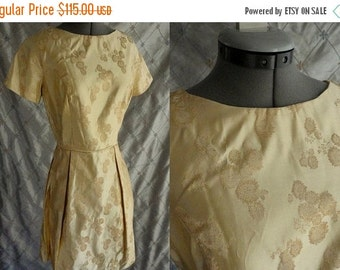 ON SALE 60s Dress //  Vintage 1960's Gold Brocade Party Dress Size M 27 waist golden yellow