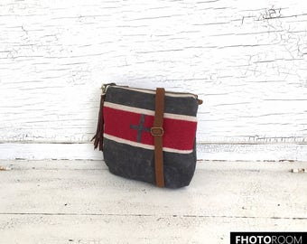 Small Gray & Red Waxed Canvas and Blanket Wool Crossbody Purse, Shoulder Bag, Messenger, Travel Purse
