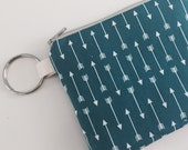 Little zipper coun purse, keychain purse, credit card case, arrows in teal